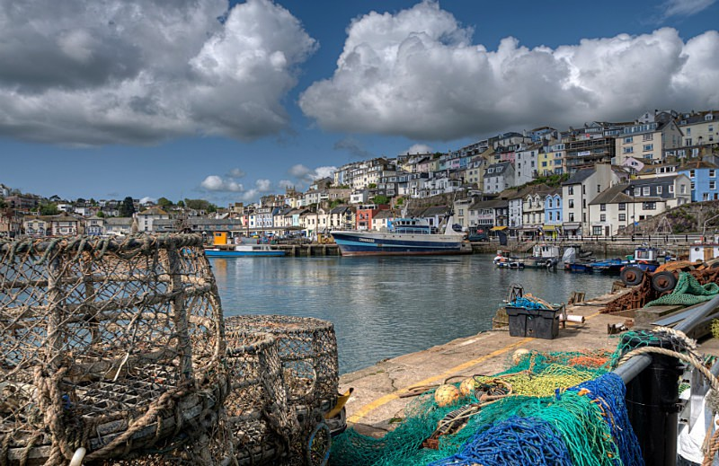 TQ91 - Lobster Pots and colourful houses at Brixham Harbour - Greetings Cards Brixham and Kingswear