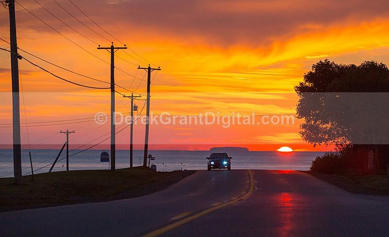 The Sunrise Strip - Rt. 111 St. Martins New Brunswick Canada - Sunset/Moonrise