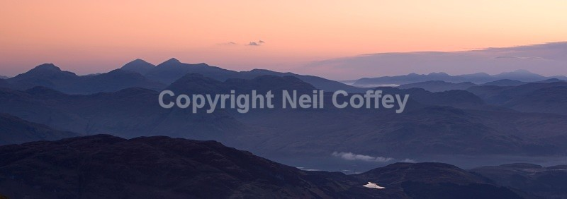 The Crianlarich Hills from Ben Lomond, The Trossachs - Panoramic format
