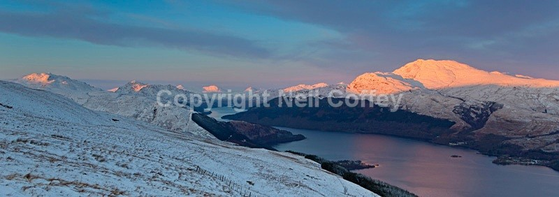 Ben Lomond Alpenglow, The Trossachs - Panoramic format