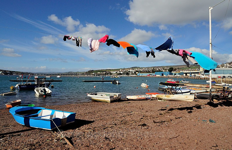 TS14 Wash day at Back Beach Teignmouth - Greetings Cards Teignmouth and Shaldon