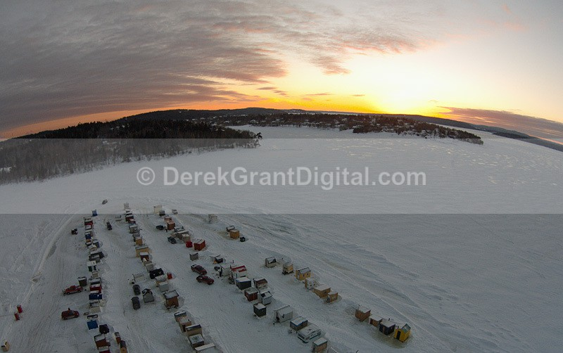Sunset Kennebecasis River Renforth Cove Ice Shacks Aerial - Sunset/Moonrise