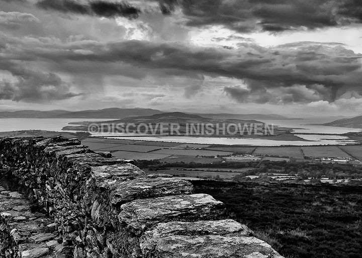 View from An Grianan - Inishowen peninsula- B&W