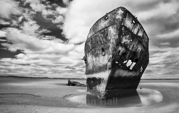 Fine Art Monochrome Of The Wreck Of The Irish Trader At Baltray, Co. Louth, Ireland.
