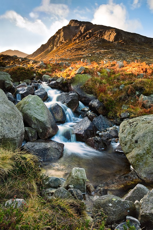 The Mourne Mountains Trassey River Flowing In The Shade