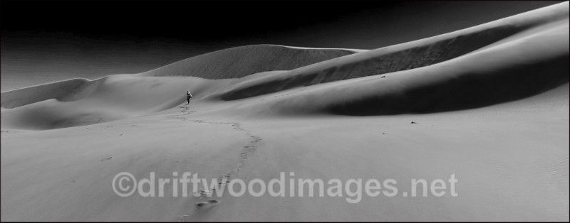 Namibia Swapokmund dune 7 and figure bw 3 - Namibia, Southern Africa