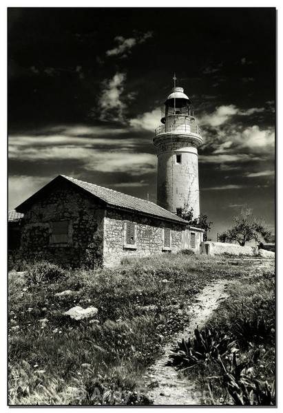 Pafos Lighthouse - Black and White