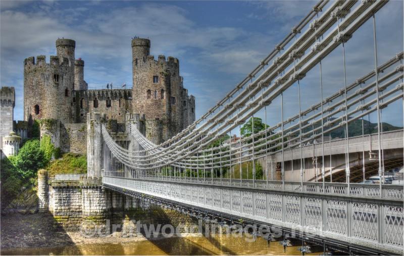 Conway suspension bridge 5 HDR - Llandudno and Conwy, North Wales