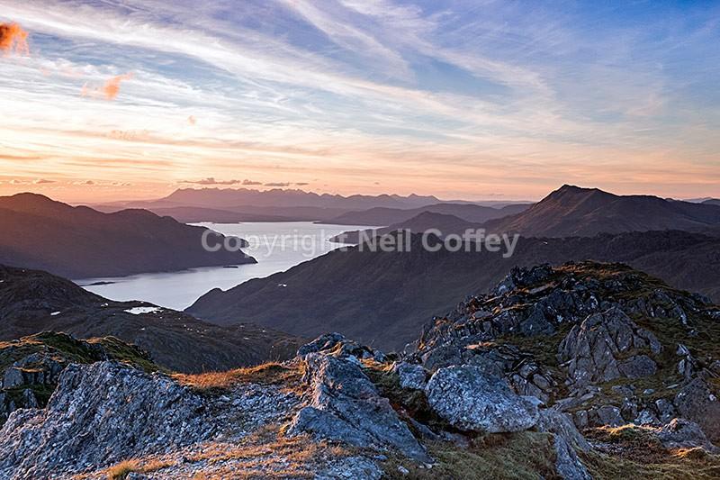 Skye, Beinn Sgritheall & Loch Hourn from Sgurr Sgiath Airigh, Highland - Landscape format