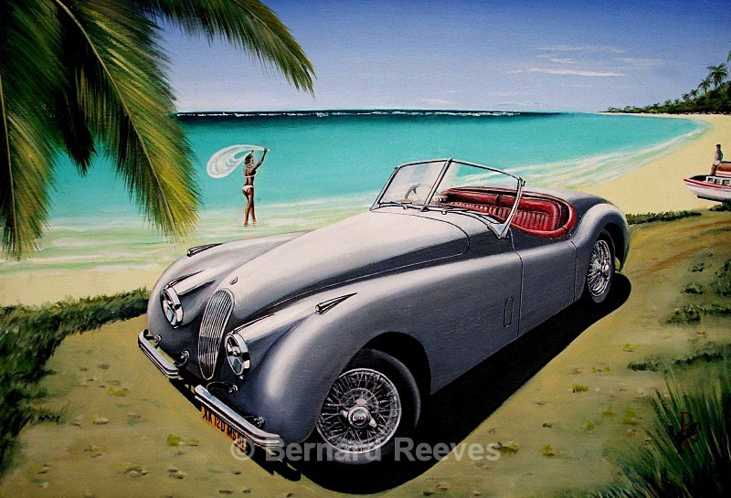 Jaguar XK120 on the beach - Classic cars on the beach