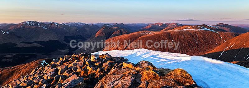 Glen Etive & The Glen Coe Hills from Ben Starav, Highland3 - Panoramic format