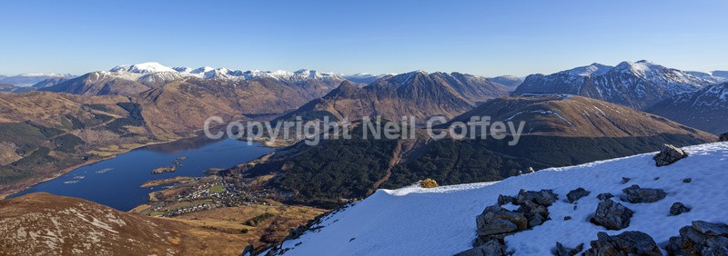 The Nevis Range, Glen Coe & Loch Leven from Sgorr Bhan, Highland - Panoramic format