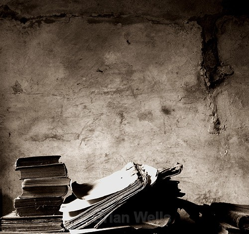 Old Books  with  Fading Plaster - The Black & White Gallery