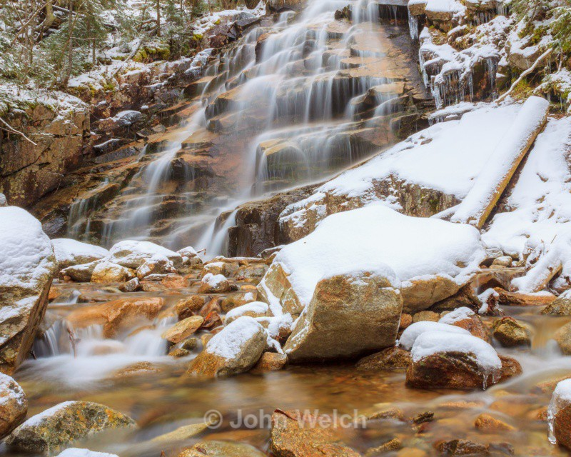 Winter Arrives at Cloudland Falls - Fall Foliage Season Transitions