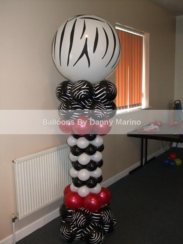 Zebra Column - Birthday Balloons