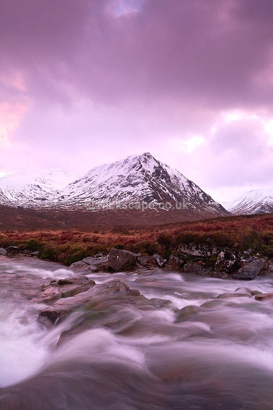 Winter Sunset | River Coupall in Glencoe | Photos from the Scottish Highlands