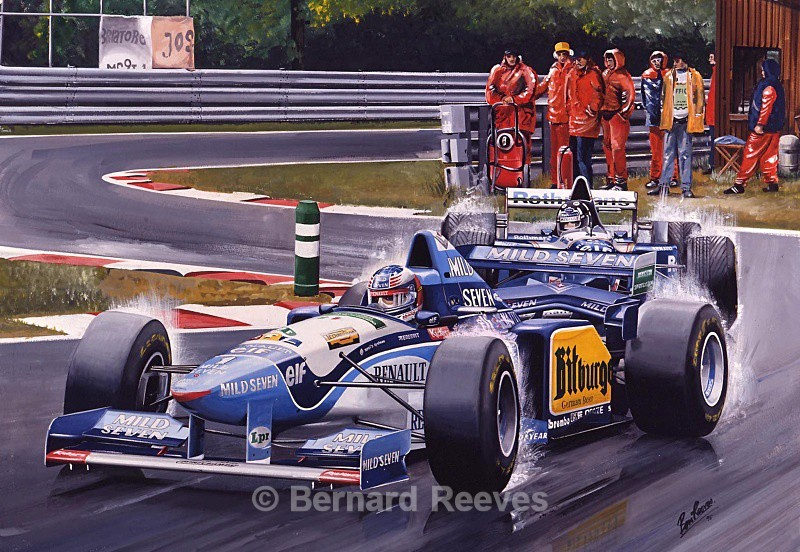 Michael Schumaker and Damon Hill at Spa - Formula 1 cars and drivers