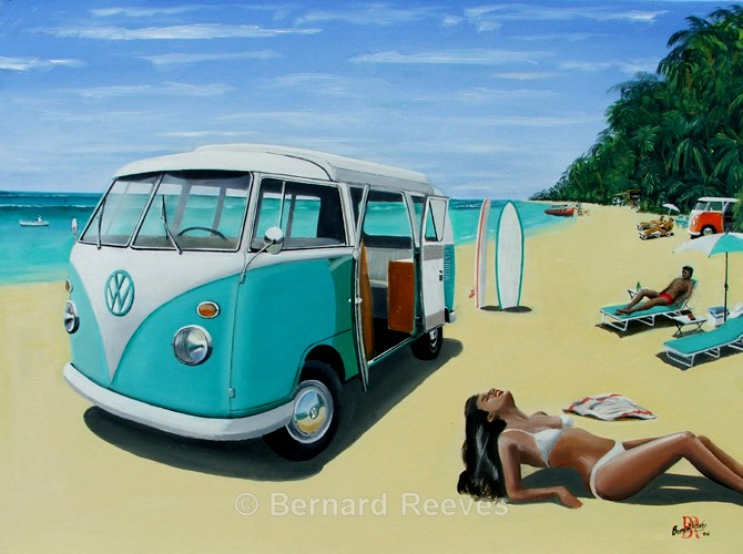 VW Camper Van on the beach - Classic cars on the beach