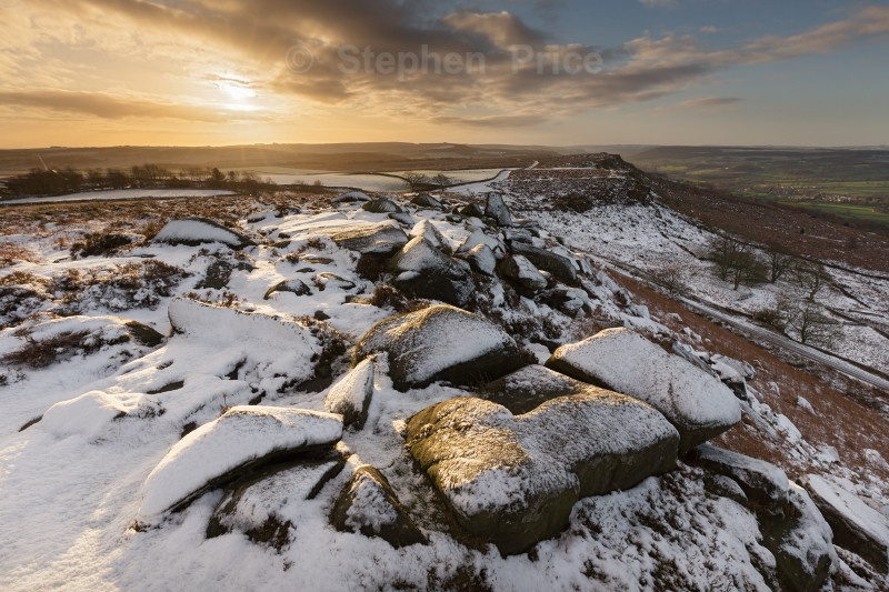 Curbar Edge Winter Sunrise | Peak District Snow