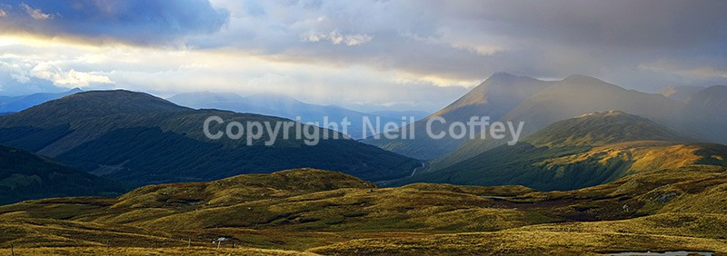 Beinn Udlaidh, Beinn Dorain and Beinn Odhar, Stirlingshire - Panoramic format