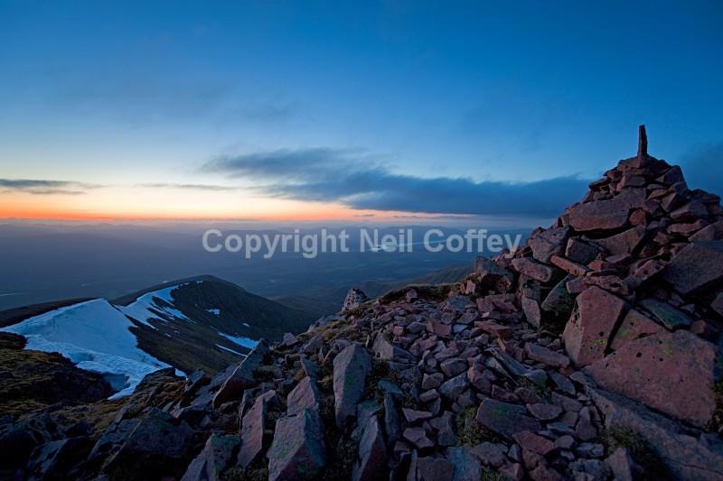 Great Glen sunset from Carn Dearg Meadhonach, Highland - Landscape format