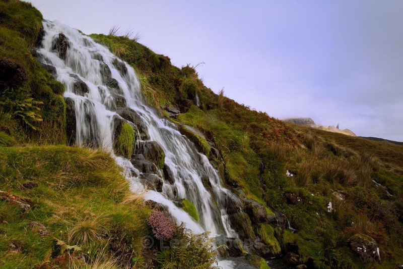 waterfall with Old Man of Storr - Highlands and Islands