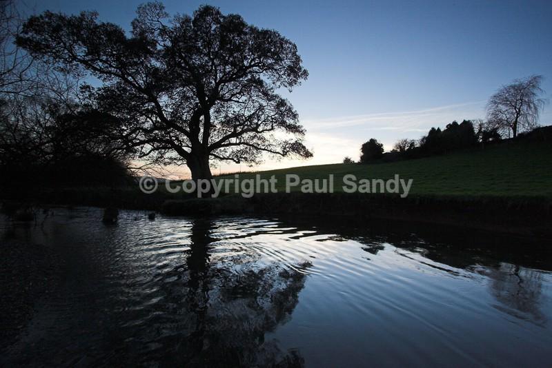 River Culm at dusk, Rewe, Devon - Featured Images