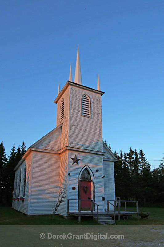 Black River United Church Old Fangled Steeple NB Canada - Churches of New Brunswick