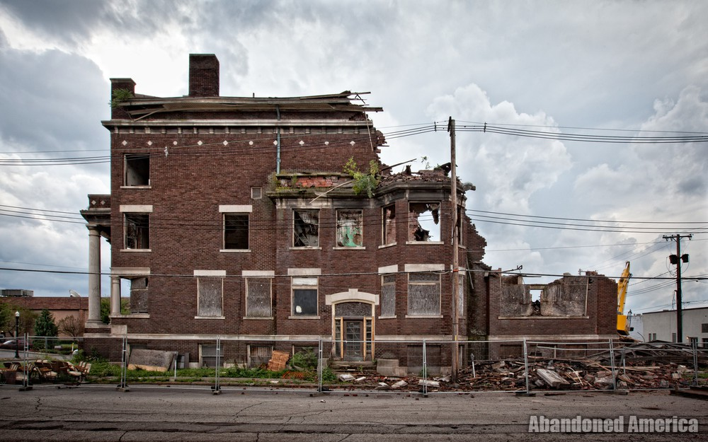 Demolition of the New Castle Elk Lodge - photographs by matthew christopher murray of abandoned america