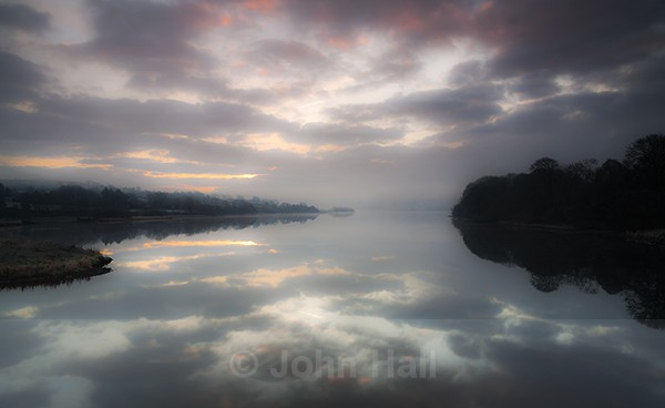 Winter Sunrise, Reflected in the Waters of The Beautiful Lee Valley, Co. Cork, Ireland.