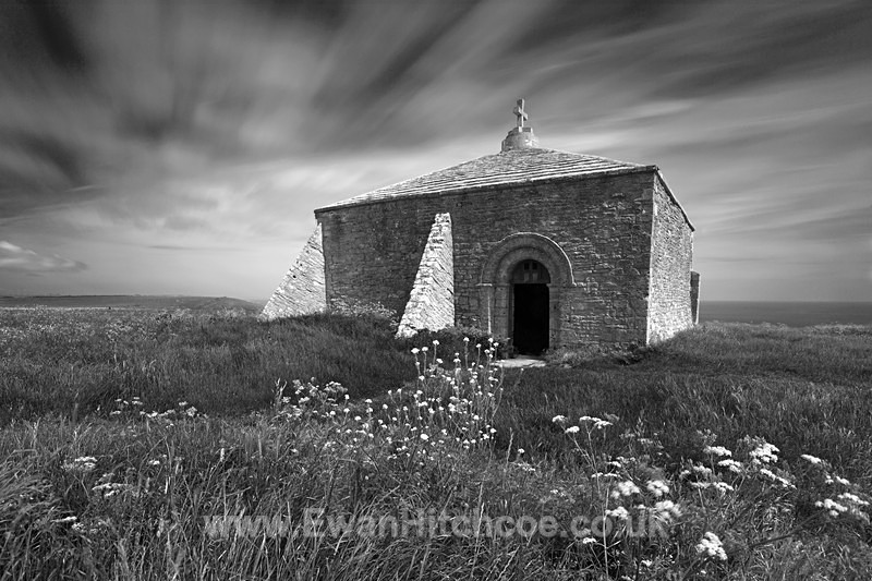 St Aldhelm's chapel BW long - Black and White