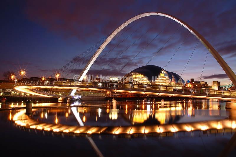 Gateshead Millenium Bridge   Architecutre Photograph of the Newcastle Quayside at Night