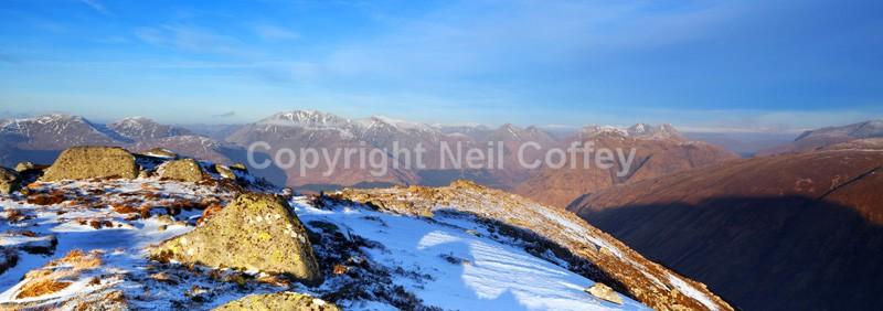 Glen Etive & The Glen Coe Hills from Ben Starav, Highland - Panoramic format