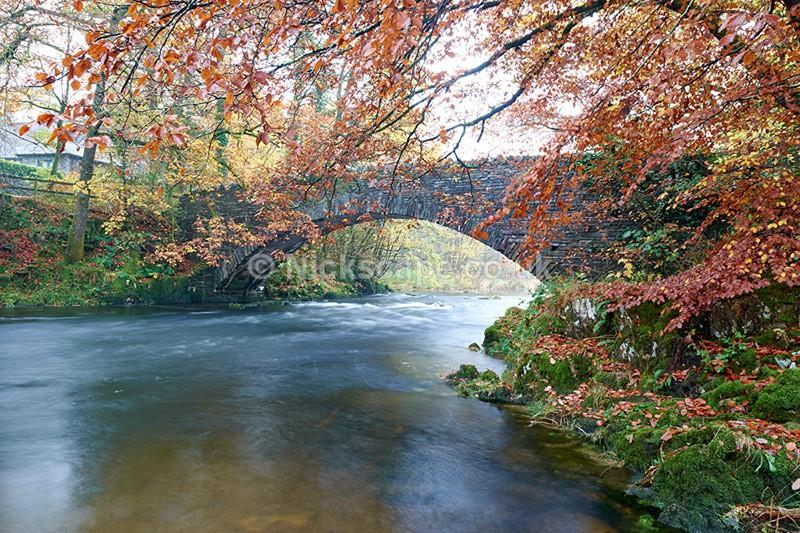 Clappersgate Bridge - River Brathay in Autumn - Lake District - Lake District National Park