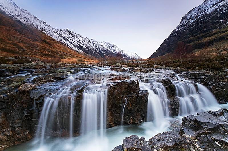 Linne Bhuidhe waterfall, River Coe, Glen Coe, Highland - Landscape format
