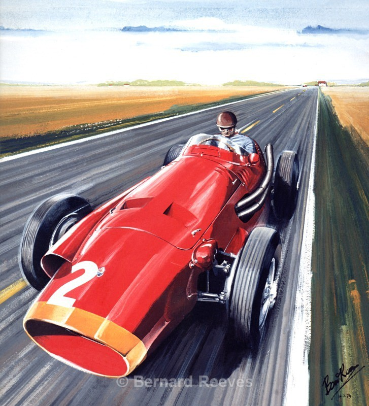 Fangio in the Maserati at Reims - Formula 1 cars and drivers