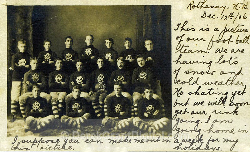 RCS Football Team Photo RPPC 1906 New Brunswick Canada - Historic New Brunswick