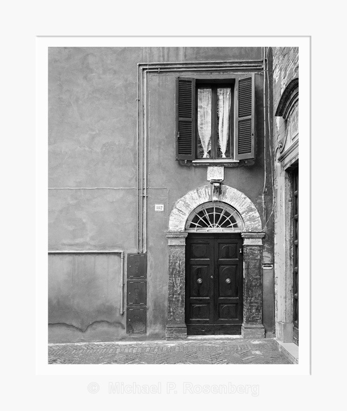 Window with Curtain Above Door, Perugia Italy (5538) - Europe