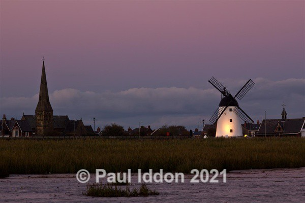 Lytham St Anne's Windmill at Sundown from the sea - Landscapes