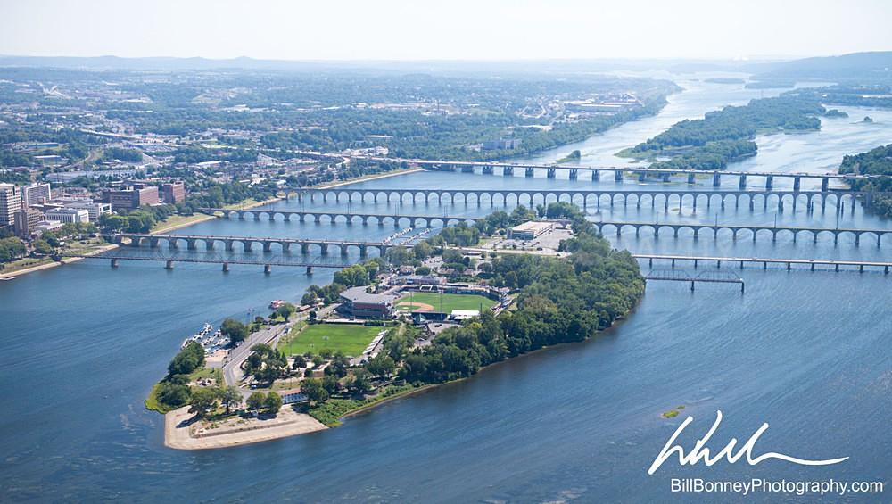 City Island Aerial Facing North - Harrisburg Area, Pennsylvania