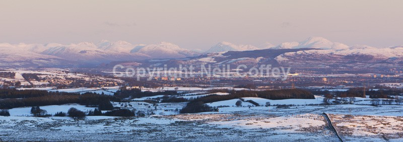 The Central Lowlands across Glasgow from Ballageich, East Renfrewshire - Panoramic format