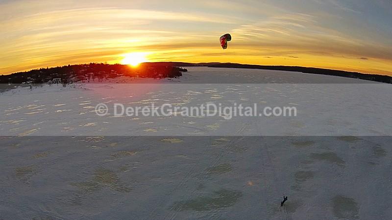 Snowkiting @ Sunset - Sunset/Moonrise
