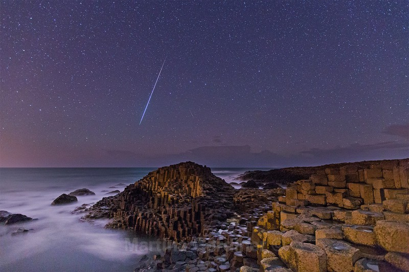 Fireball over the Giant's Causeway - Ireland by Night