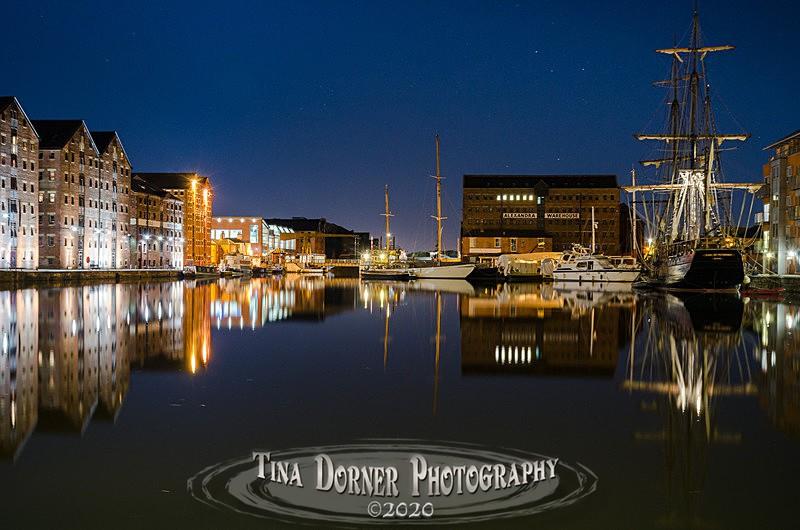 Night View towards Llantony Bridge at Gloucester Docks by Tina Dorner Photography