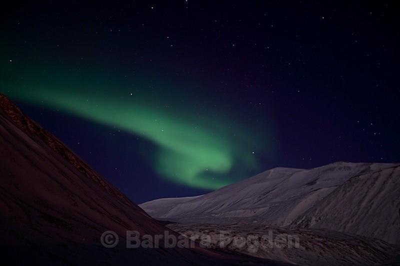 Northern light over Longyearbreen 5161 - Polar night