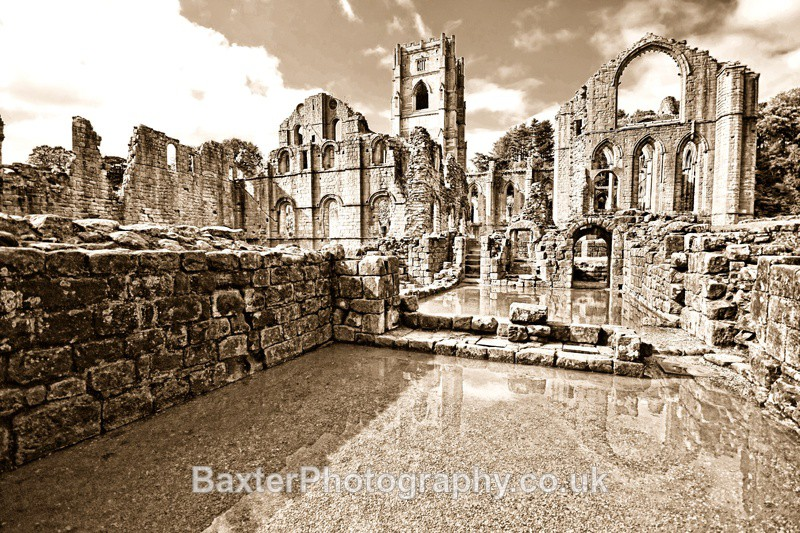 Reflections And Remains (Pale Sepia) - Fountains Abbey
