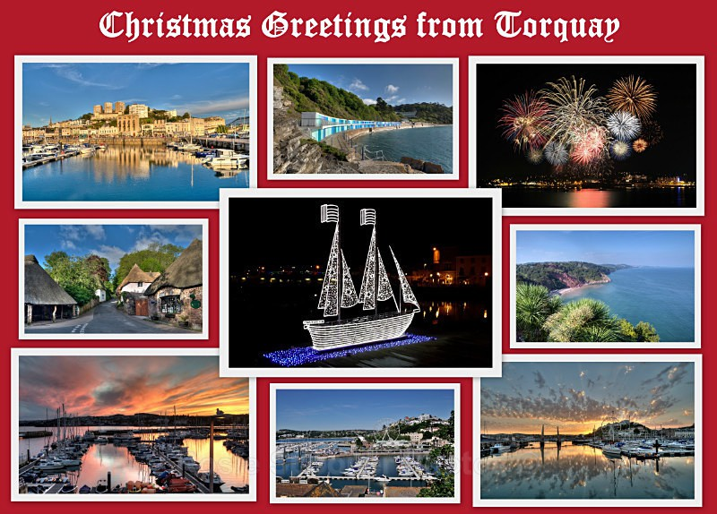 TQ69 -  Christmas card -Views of Torquay - Greetings Cards Torquay (separate galleries for Meadfoot Beach/Ansteys and Cockington)