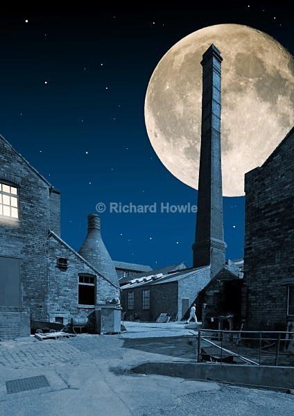 Moonlit Potbank Yard - The Potteries by Moonlight