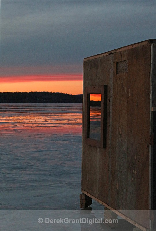 Remains of the Day - Renforth Ice Fishing Hut New Brunswick Canada - Sunset/Moonrise