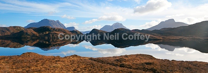 Inverpolly Forest and Loch Buine Moire, Highland2 - Panoramic format